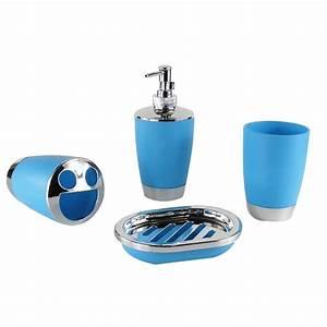 Accessoire Salle De Bain Bleu : set 4 accessoires salle de bain bleu dk st010 decoraport canada ~ Teatrodelosmanantiales.com Idées de Décoration
