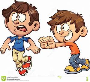Cartoon Kid Shoving Another Kid Stock Vector ...