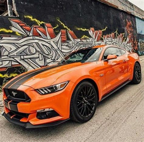 orange  mustang  matte black stripes  graffiti