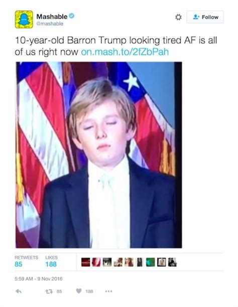 Barron Trump Memes - donald trump s son couldn t stay awake during victory speech