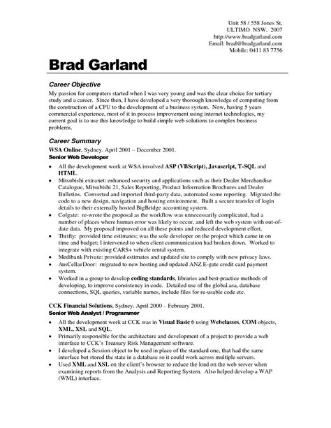 Carrer Objective Resume by Career Objective Resume Exles For Exle Your