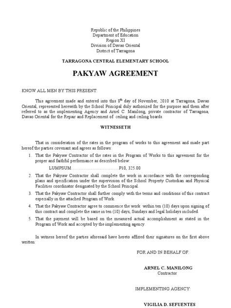 pakyaw agreement business law virtue
