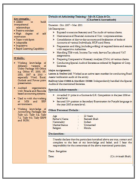 Experienced Accountant Resume by Resume Sle For Experienced Chartered Accountant 2