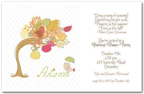 Bird and Autumn Tree Invitations Fall Invitations