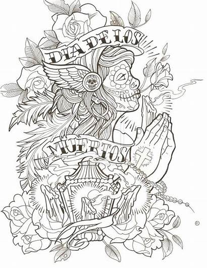 Coloring Pages Tattoo Skull Thug Drawing Sketch