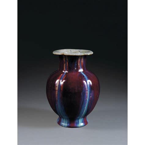 vase bouteille en porcelaine et couverte sang de bœuf flamm 233