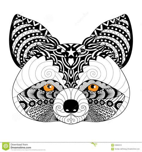 zentangle raccoon  coloring page  adulttattoo logo