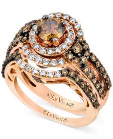 chocolate engagement rings le vian 14k strawberry gold bridal set chocolate diamonds 1 3 4 ct t w and vanilla