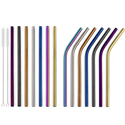 Where to buy coffee straws? 2Pcs 16cm Colorful Metal Straw 18/10 Stainless Steel ...