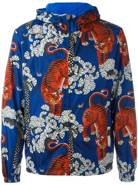 flamingo jacket gucci bengal tiger print jacket in blue for lyst