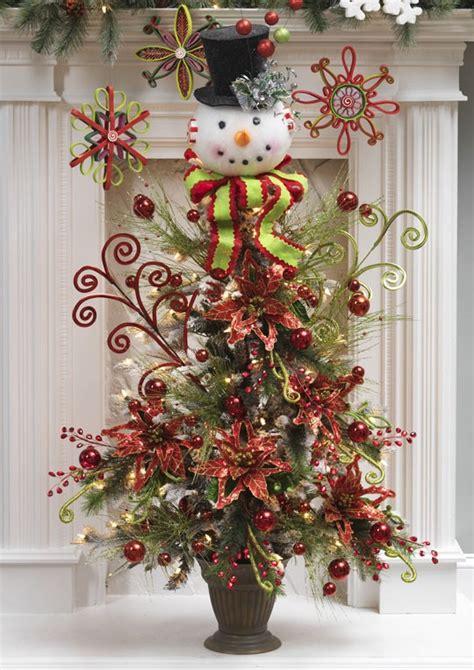 snowman head w black top hat christmas tree topper