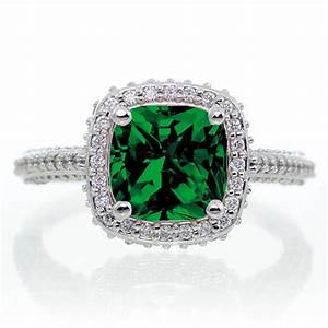 15 carat cushion cut designer emerald and diamond halo for Emerald and diamond wedding ring