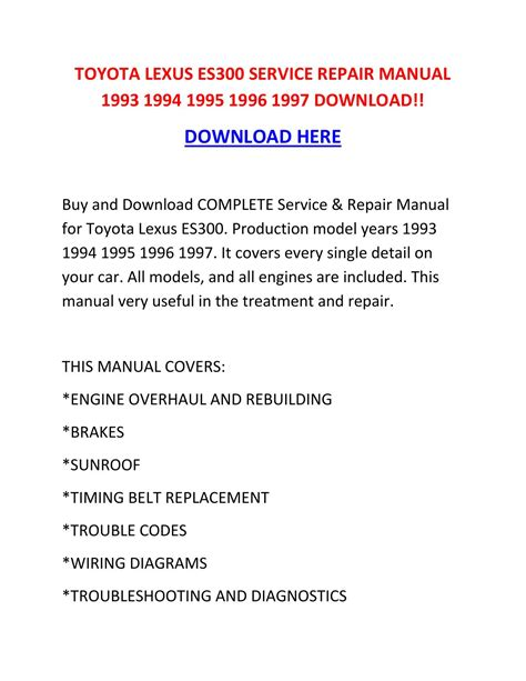 car repair manuals online free 1996 lexus es electronic valve timing toyota lexus es300 service repair manual 1993 1994 1995 1996 1997 download by