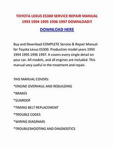 Toyota Lexus Es300 Service Repair Manual 1993 1994 1995
