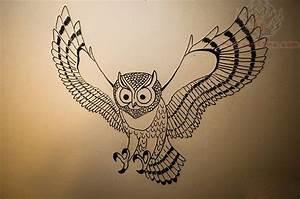 Flying Owl Tattoo Outline