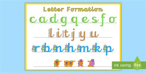 precursive letter formation display poster large