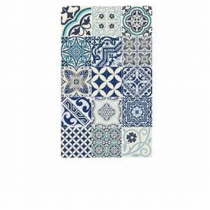 Tapis Vinyle Sol : tapis vinyle eclectic bleu blanc 70 x 180 cm ~ Premium-room.com Idées de Décoration