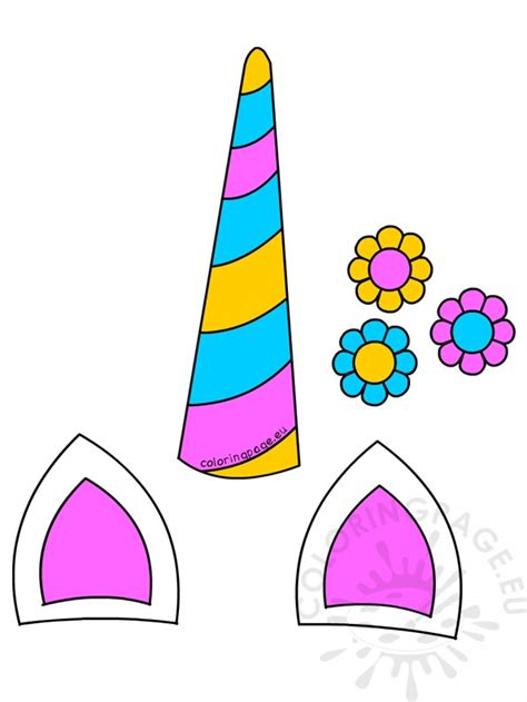unicorn ears and horn template unicorn horn ears and flowers printable coloring page