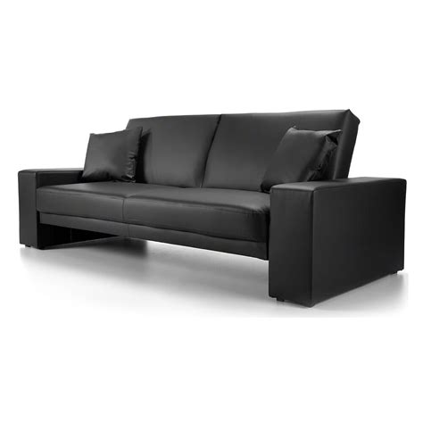 Convertible Settee by Modern Sofa Bed Living Room Black Faux