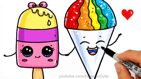 How To Draw A Popsicle And Snow Cone Easy