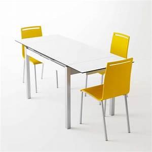 Petite Table Extensible : petite table de cuisine en m lamin blanc extensible avec tiroir camel 4 ~ Teatrodelosmanantiales.com Idées de Décoration