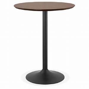 Table Haute Noire : table haute mange debout design laura en bois pieds m tal noir 90 cm finition noyer ~ Teatrodelosmanantiales.com Idées de Décoration