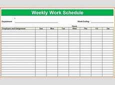 6+ weekly work schedule template excel Budget Template
