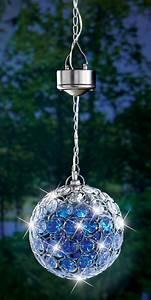 Solar powered crystalline hanging pendant garden gazing