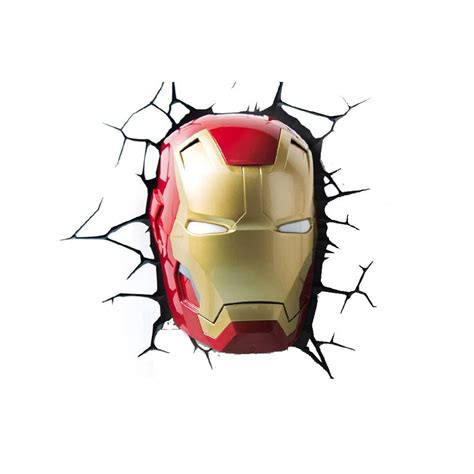 iron man 3 face 3d deco light energy efficient wall mounted design menkind