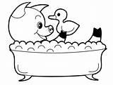 Pig Coloring Bath Animal Take Bathing Playing Doll sketch template