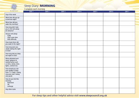 sleep diary  sleep council