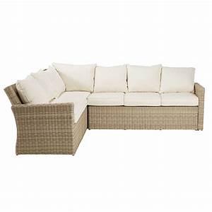 Canapé d'angle de jardin en résine tressée beige et