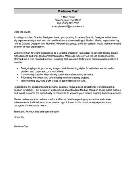graphic designer cover letter best graphic designer cover letter exles livecareer