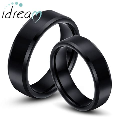 black tungsten wedding bands set flat beveled edges