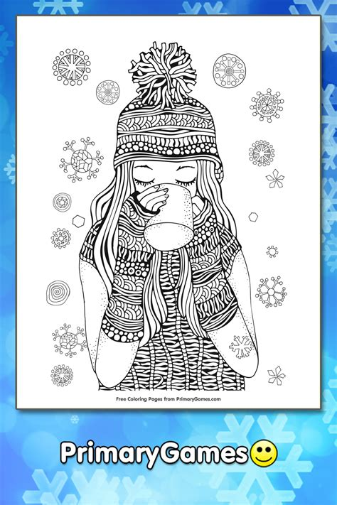 girl drinking hot chocolate coloring page printable winter coloring  primarygames