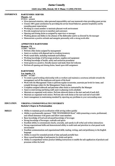 Bartender Resume Sles bartender resume sles velvet 187 bartender resume