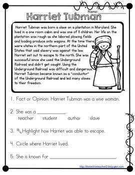 harriet tubman reading comprehension worksheets grade 3 harriet tubman reading passage harriet tubman reading