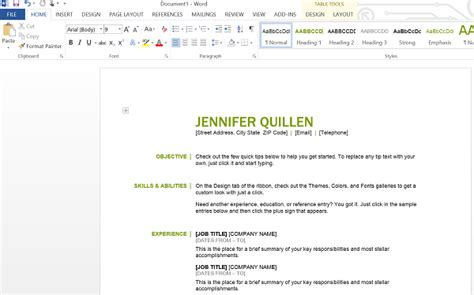 how to create a resume with office 365 personal