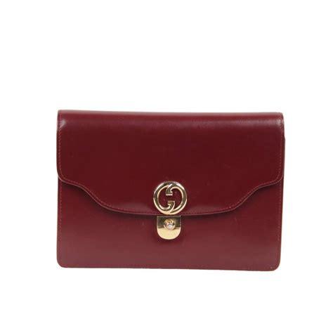 gucci italian vintage burgundy leather clutch handbag purse evening bag  stdibs