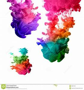 Rainbow Of Acrylic Ink In Water. Color Explosion Stock ...