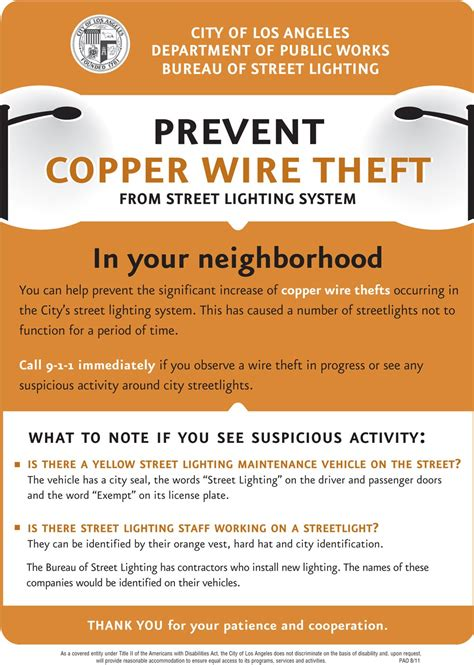 help prevent copper wire theft from lights