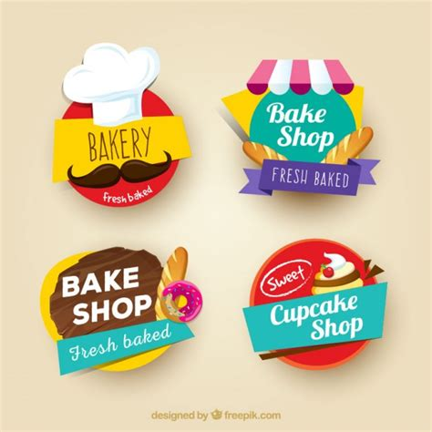 colored stickers colored bakery stickers set vector free