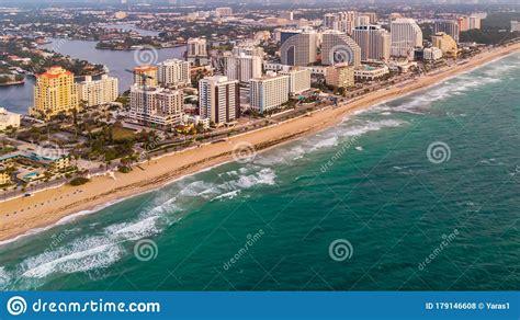 Aerial View On Fort Lauderdale Coast Line, Public Beach ...