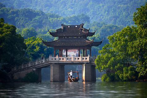 China Bridge River Canoes Wallpapers Hd Desktop And