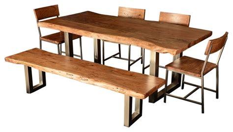 live edge single slab modern rustic dining table chair