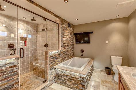 rustic bathroom tile rustic master bathroom with raised panel limestone tile Rustic Bathroom Tile