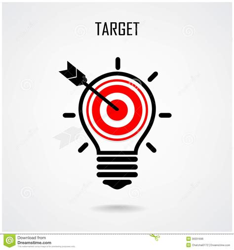 target light bulbs creative light bulb and target concept stock vector