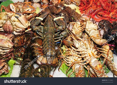 kinds shellfish fish seafood market stock photo