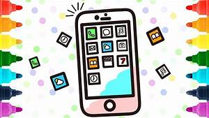 How To Draw Mobile Phone And Apps For Kids