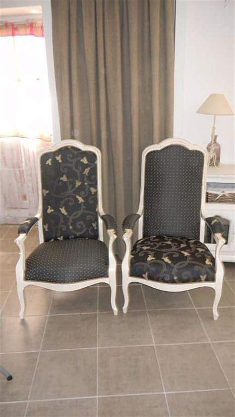canapé bois et tissu fauteuils voltaire relooké par rue des relookeurs sur rue